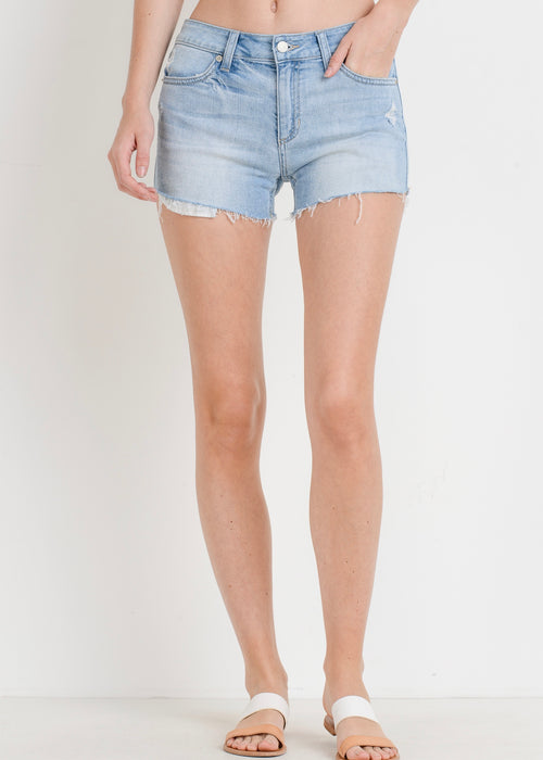 DISTRESSED HIGH RISE DENIM SHORT