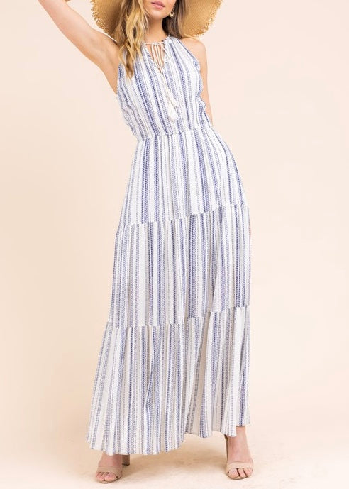 CARRIE STRIPED MAXI DRESS