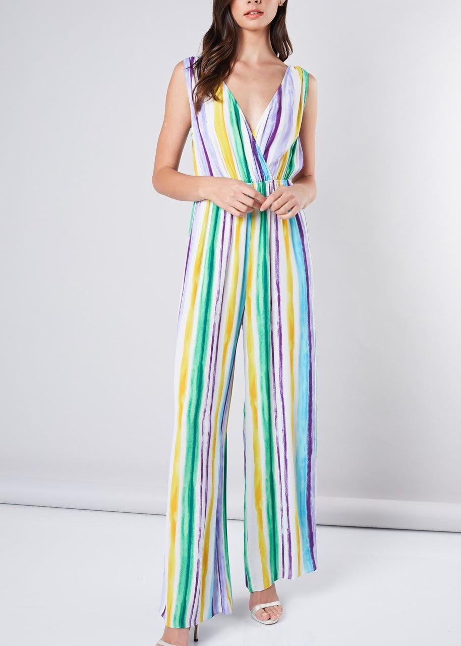 RESORT STRIPPED JUMPSUIT
