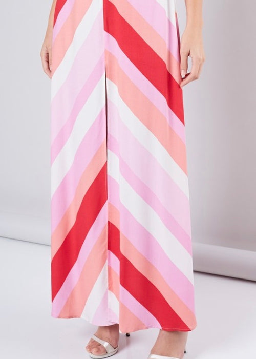 PINK DIAMOND STRIPE MAXI DRESS
