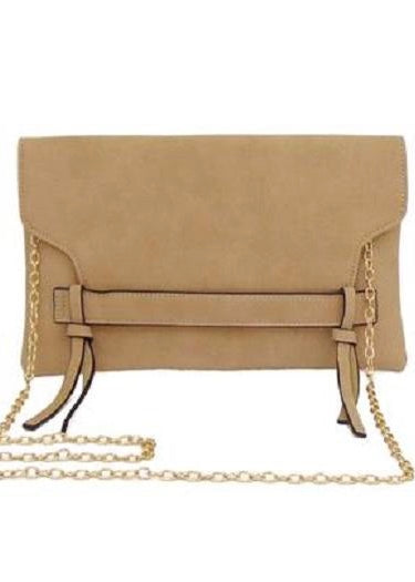 BEIGE PLEATHER CLUTCH