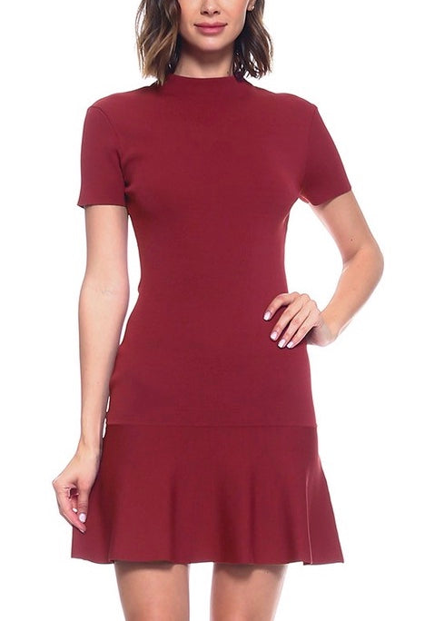 RED BODYCON FLARE DRESS