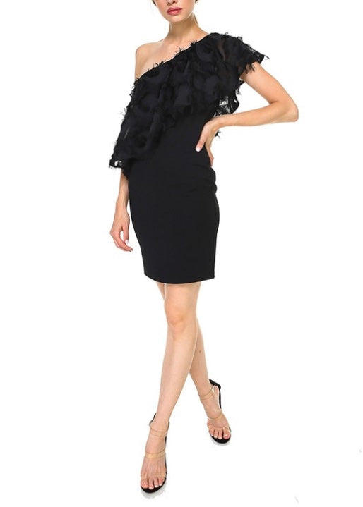 FEATHER TASSEL ASYMMETRIC DRESS