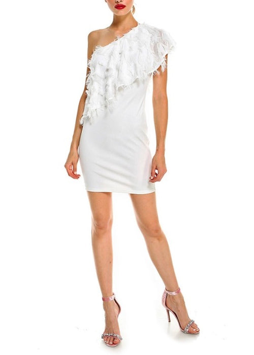 ONE SHOULDER FEATHER BODYCON DRESS