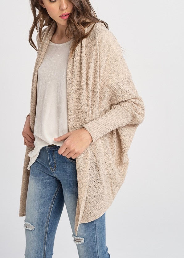 NATURAL BEIGE OPEN CARDIGAN