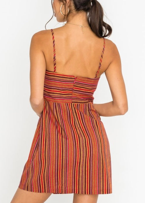 LINEN STRIPE SLIP DRESS