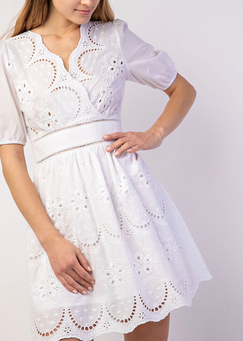 WHITE DAISY EYELET DRESS