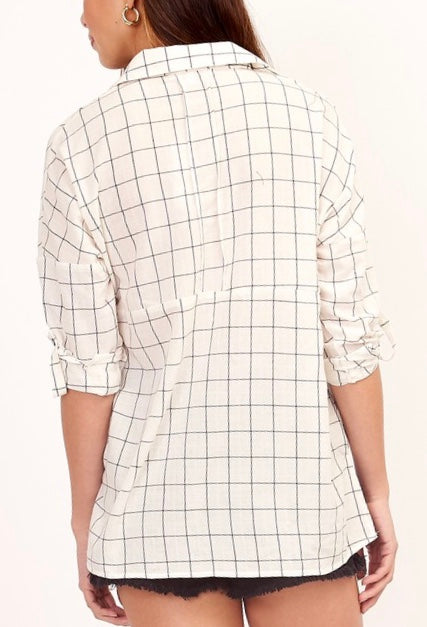 LIGHTWEIGHT GRID BLOUSE