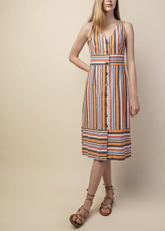 68d28423c ... MULTI COLORED STRIPE LINEN DRESS ...
