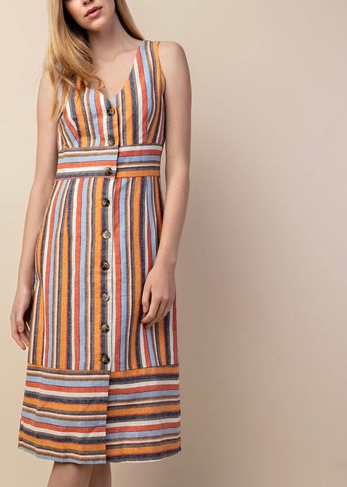 MULTI COLORED STRIPE LINEN DRESS