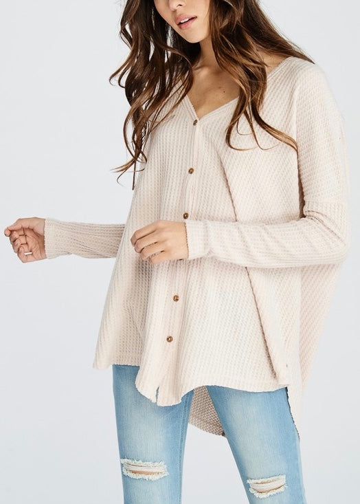 HANNAH THERMAL BUTTON DOWN SWEATER
