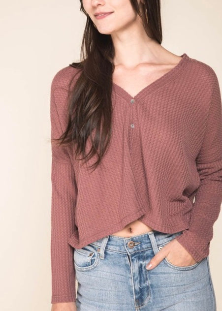 CROPPED BUTTON DOWN WAFFLE TOP
