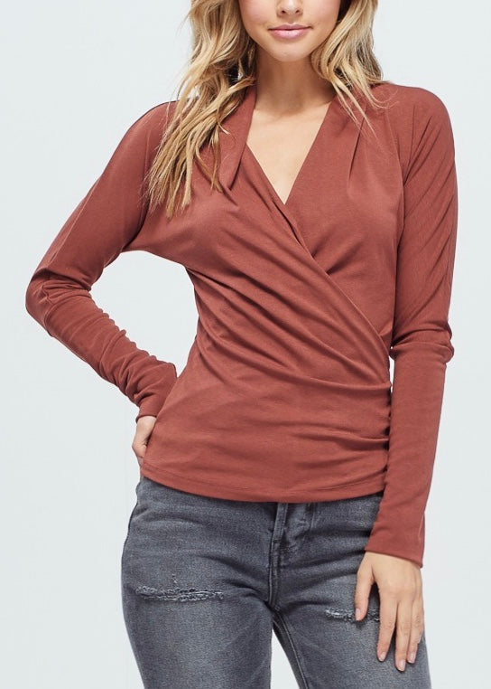 LONG SLEEVED WRAP TOP