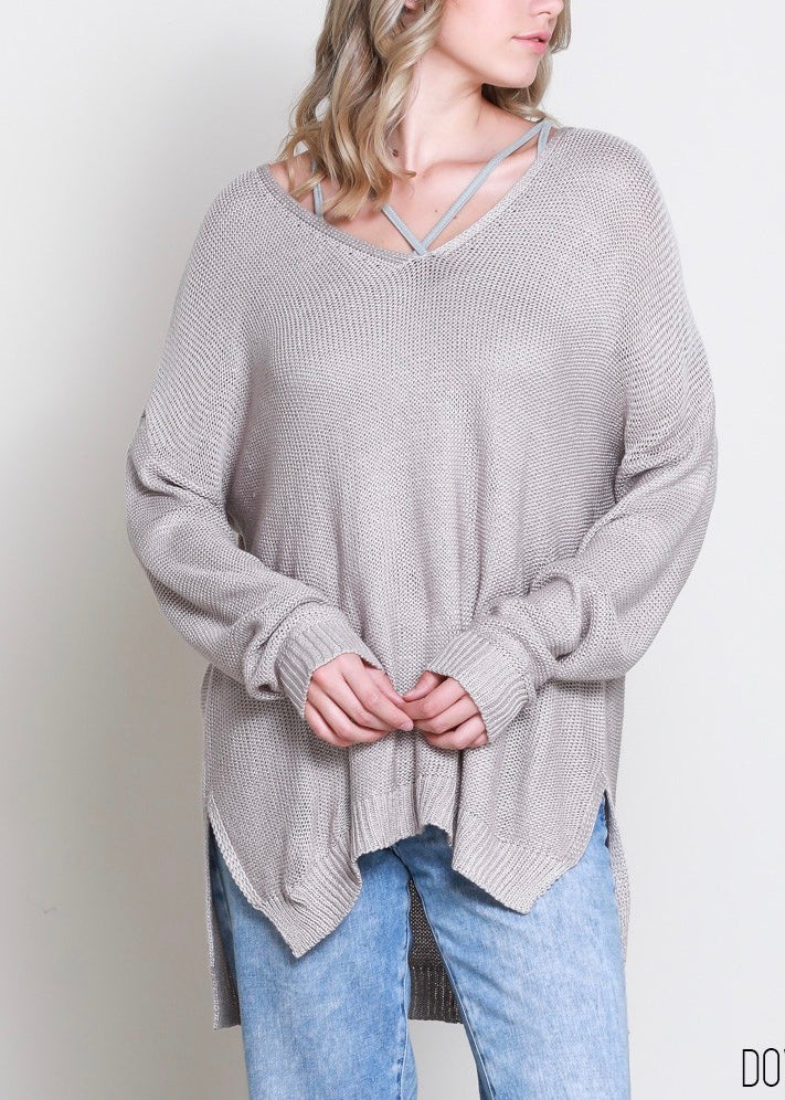 LOW GAUGE V-NECK SWEATER