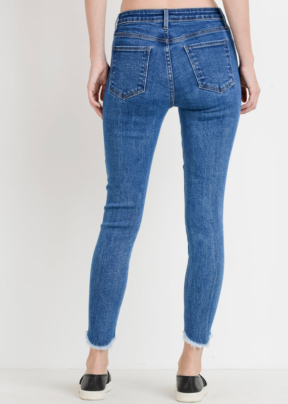 JUST BLACK BP220J SKINNY JEAN WITH TULIP FRAYED HEM