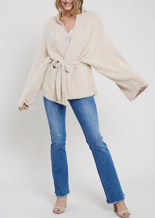 PATTY FUZZY KNIT WRAP CARDIGAN