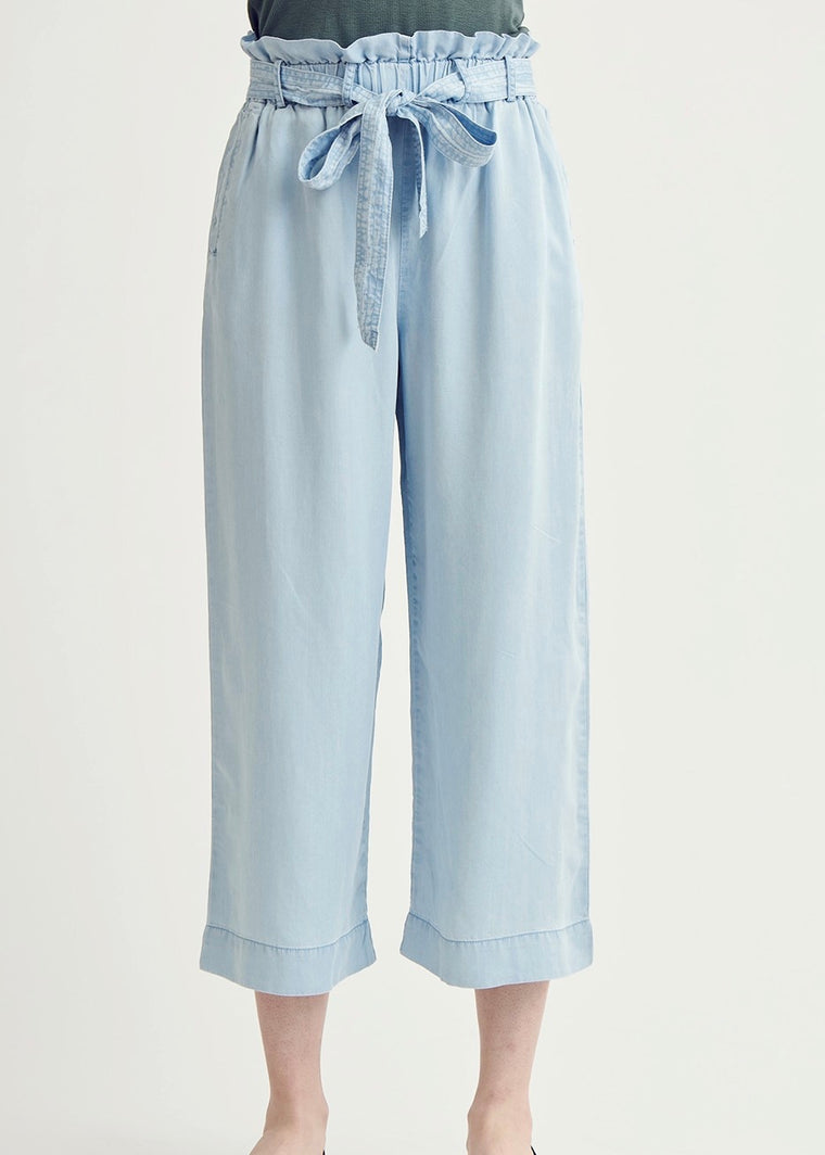 PAPERBAG DENIM CROPPED PANTS