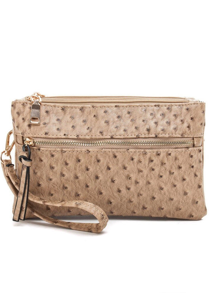 OSTRICH MULTI-COMPARTMENT CROSSBODY