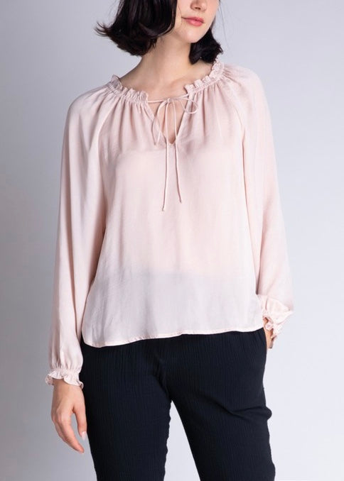 MIA SATIN RUFFLE NECK BLOUSE