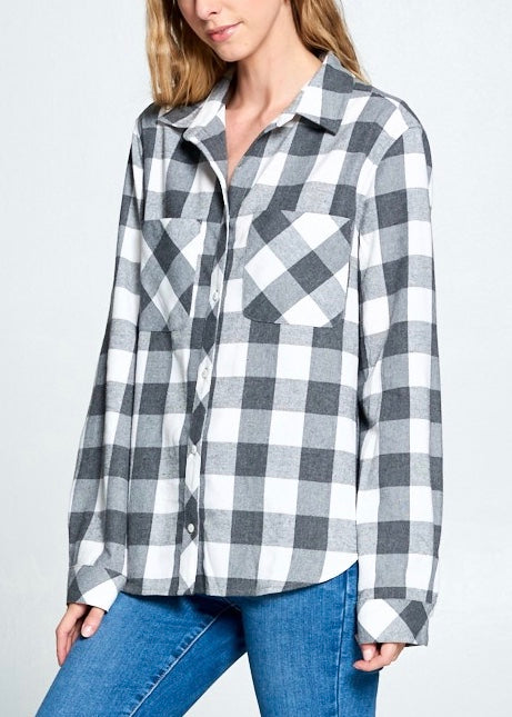 FRANKIE FLANNEL BUTTON DOWN TOP