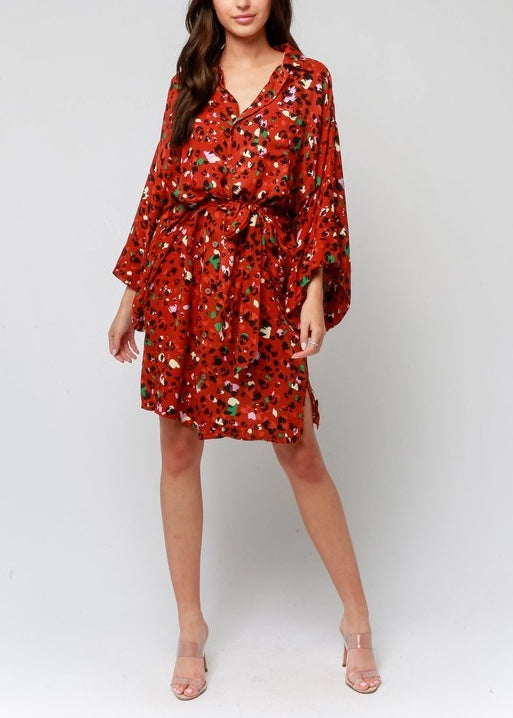 RUSTED LEOPARD SHIRT DRESS