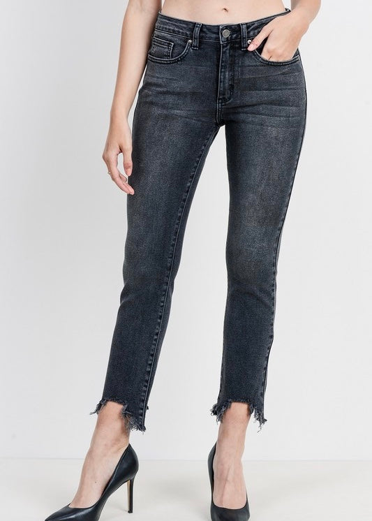 BELLA STRAIGHT JEANS WITH HEM DESTRUCTION