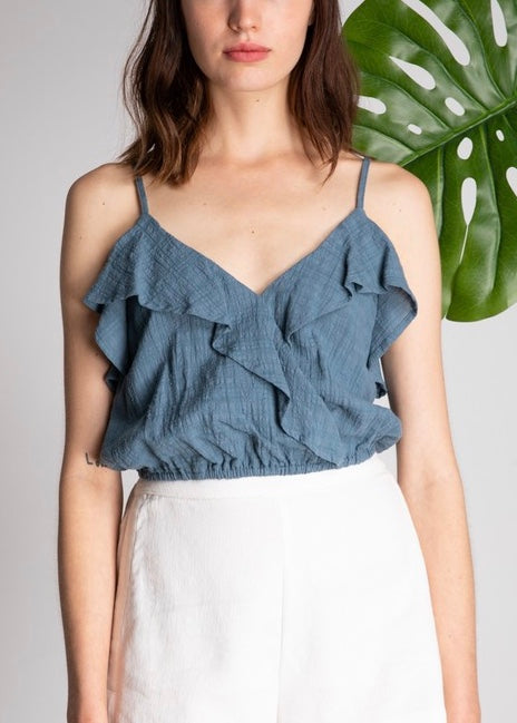 CROP RUFFLE TOP
