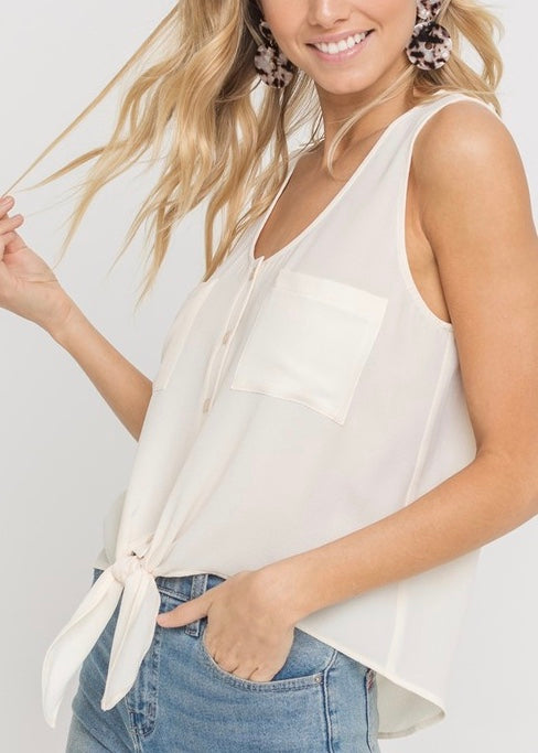 CATHERINE BUTTONED TIE FRONT TANK