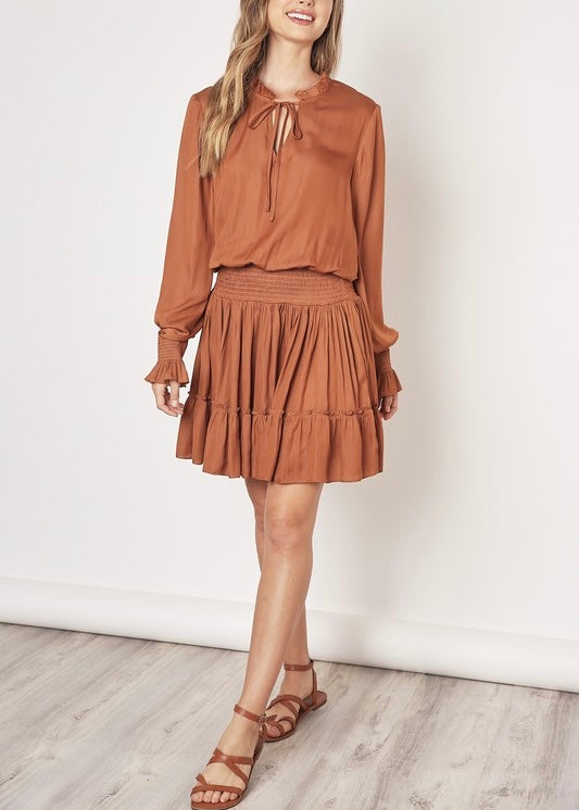 SADIE LONG SLEEVE RUFFLE DRESS