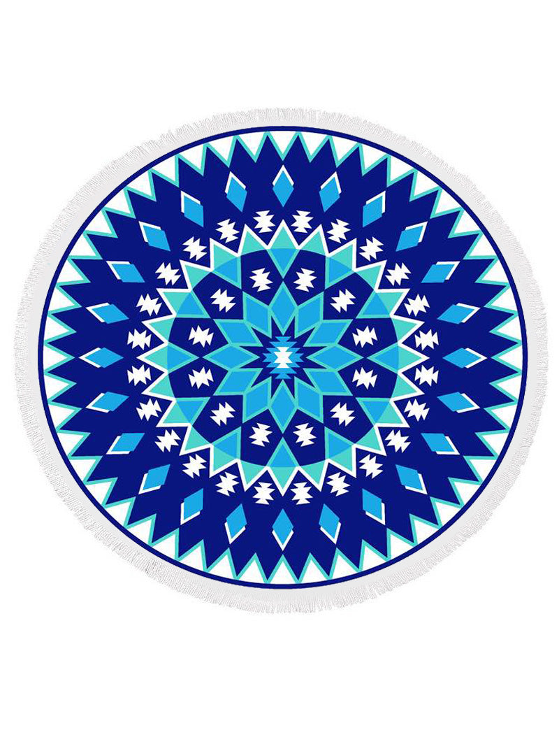 geometric printed round beach towel in blue
