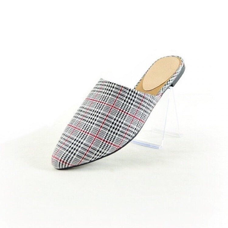 PENELOPE BLACK AND RED PLAID FLAT SHOES