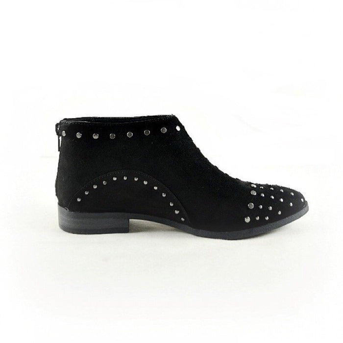BRITTANY BLACK SUEDE STUDDED ANKLE BOOTIE