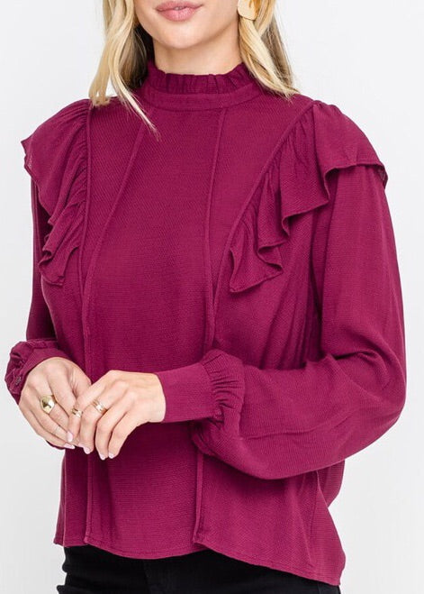 KELLY RUFFLED COLLAR CABERNET TOP