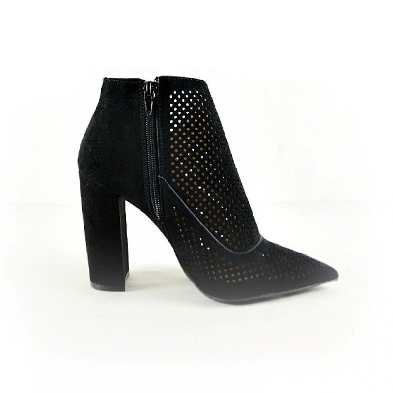 BELLA CUT-OUT BLACK CHUNK HEEL BOOTIE