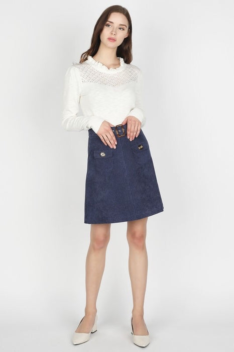 MARY JANE CORDUROY SKIRT WITH BOTTONS