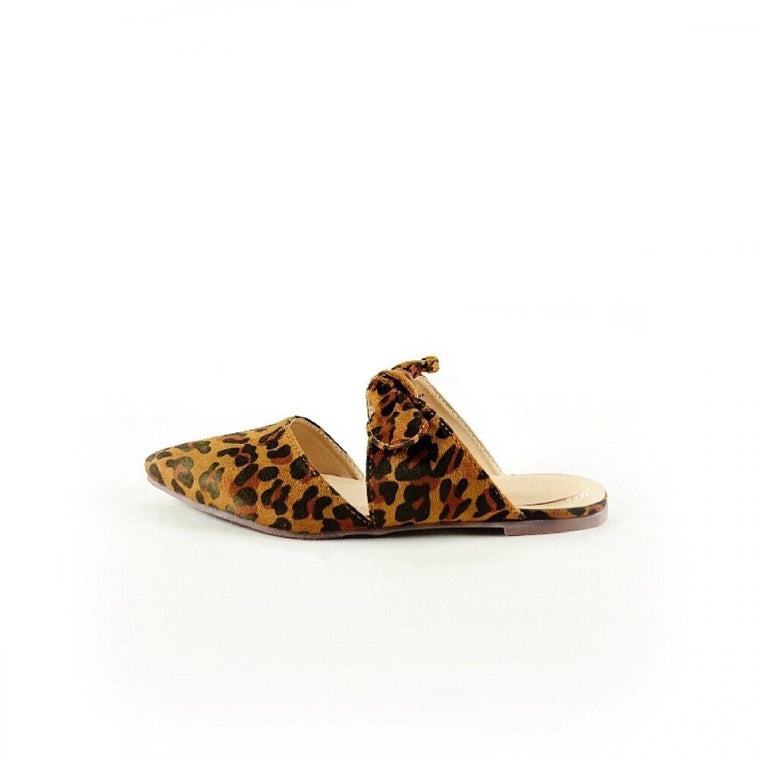 CARDI LEOPARD PRINT BOW TIED FLAT SHOES