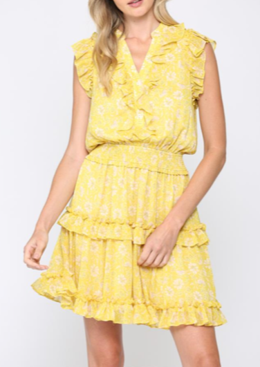 AMY JO YELLOW RUFFLE DRESS
