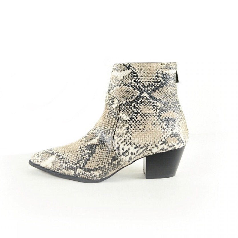 LILY BEIGE SNAKE BOOTIES