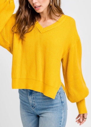 MILEY MUSTARD V-NECK DOLMAN SWEATER TOP