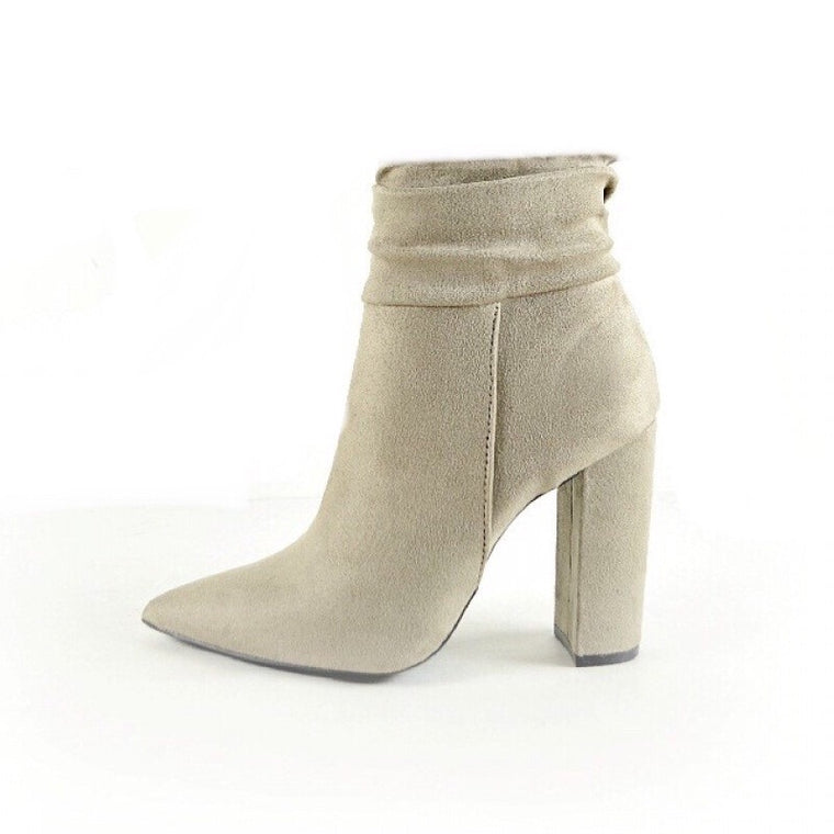 SERENA TAUPE RUFFLE ZIP UP BOOTIE