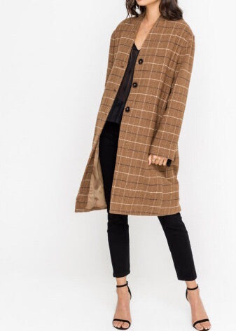 COURTNEY PLAID COCOON COAT