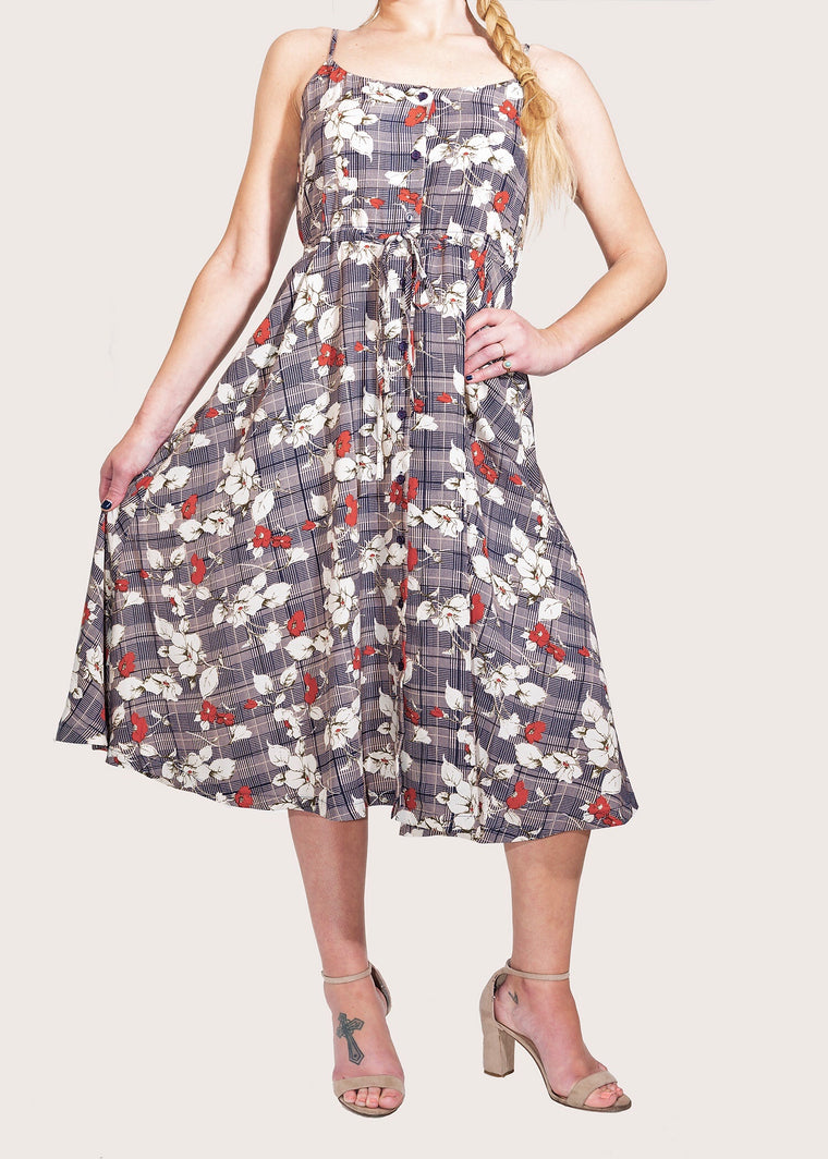 SELINA PLAID FLORAL HIGH TEA DRESS
