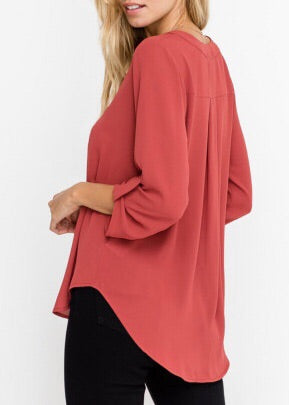 TAMARA WORKNG GIRL 3\4 SLEEVE BUTTONED TOP