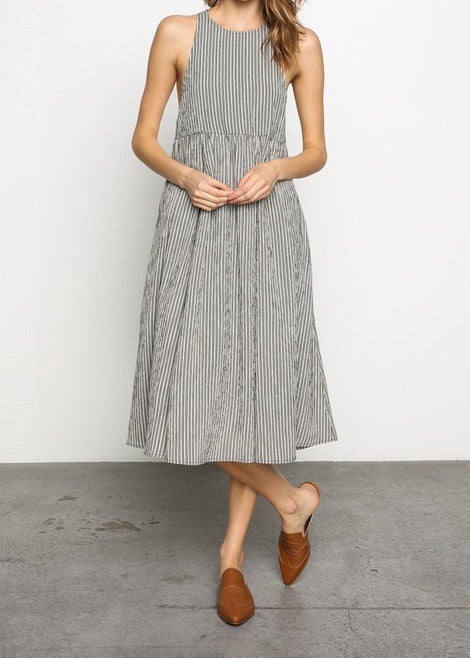 TALYA GREY PIN-STRIPED OVERALL MIDI DRESS
