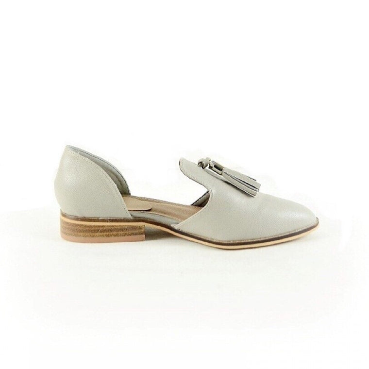 LUANNE LIGHT GREY TASSEL FLAT SHOES