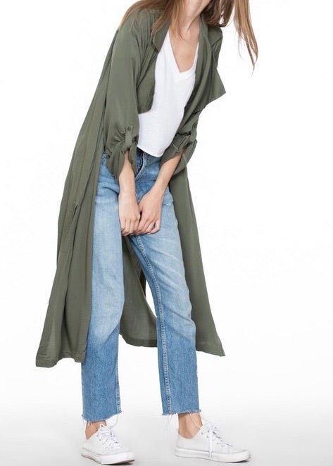 KELLY JET-SETTER CAMO GREEN DUSTER