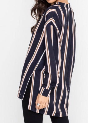 STERLING NAVY AND MAUVE STRIPED TOP