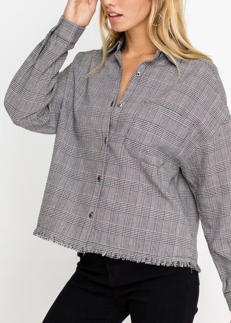 BETHANY PLAID RAW EDGE BUTTON DOWN TOP