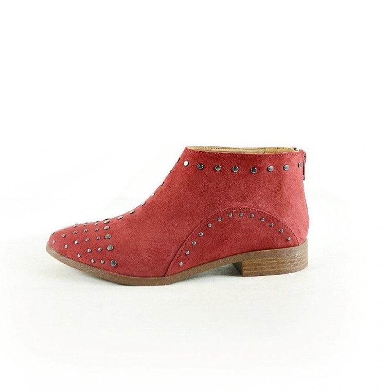 BRITTANY RED STUDDED ANKLE BOOTIES