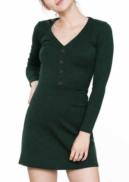 DANNY V-NECK RIBBED KNITT DRESS